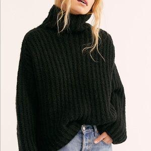 FREE PEOPLE Black Fluffy Fox Wool Funnel Sweater